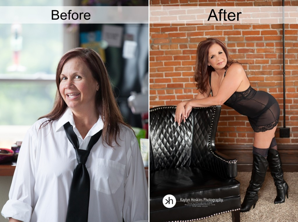 Before and after images from Julie's Boudoir Experience