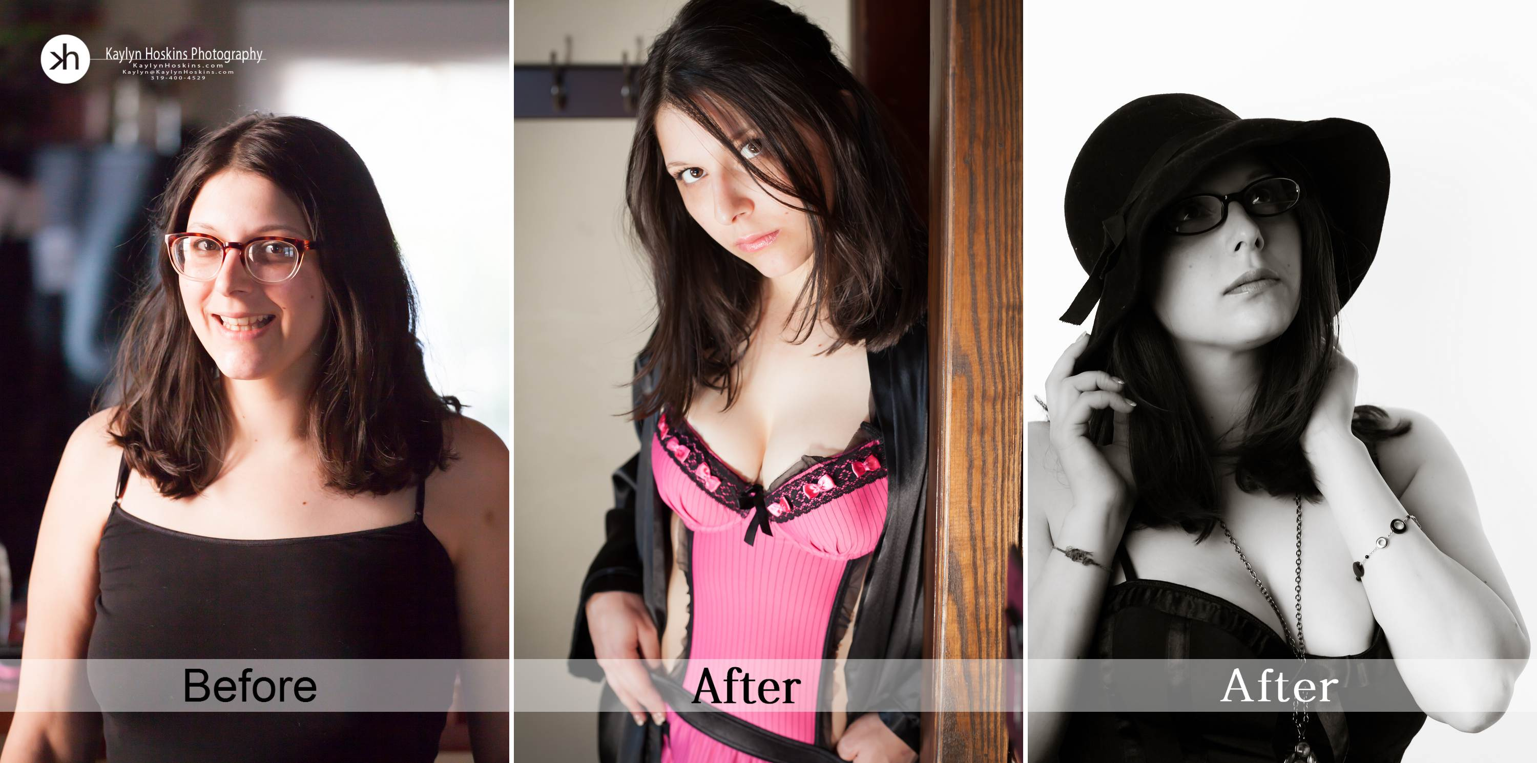 Before After collage of boudoir client