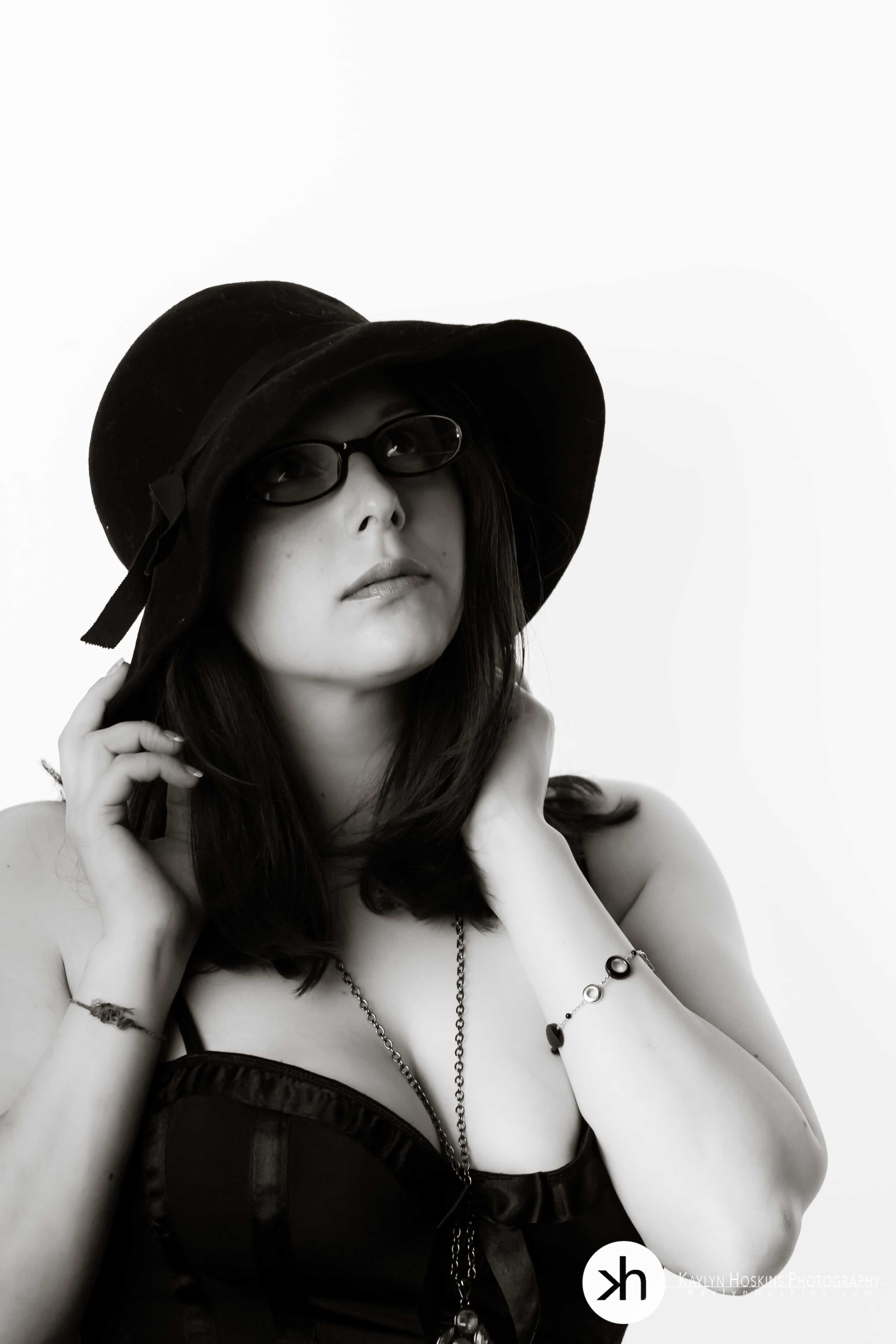 Boudoir client in black and white