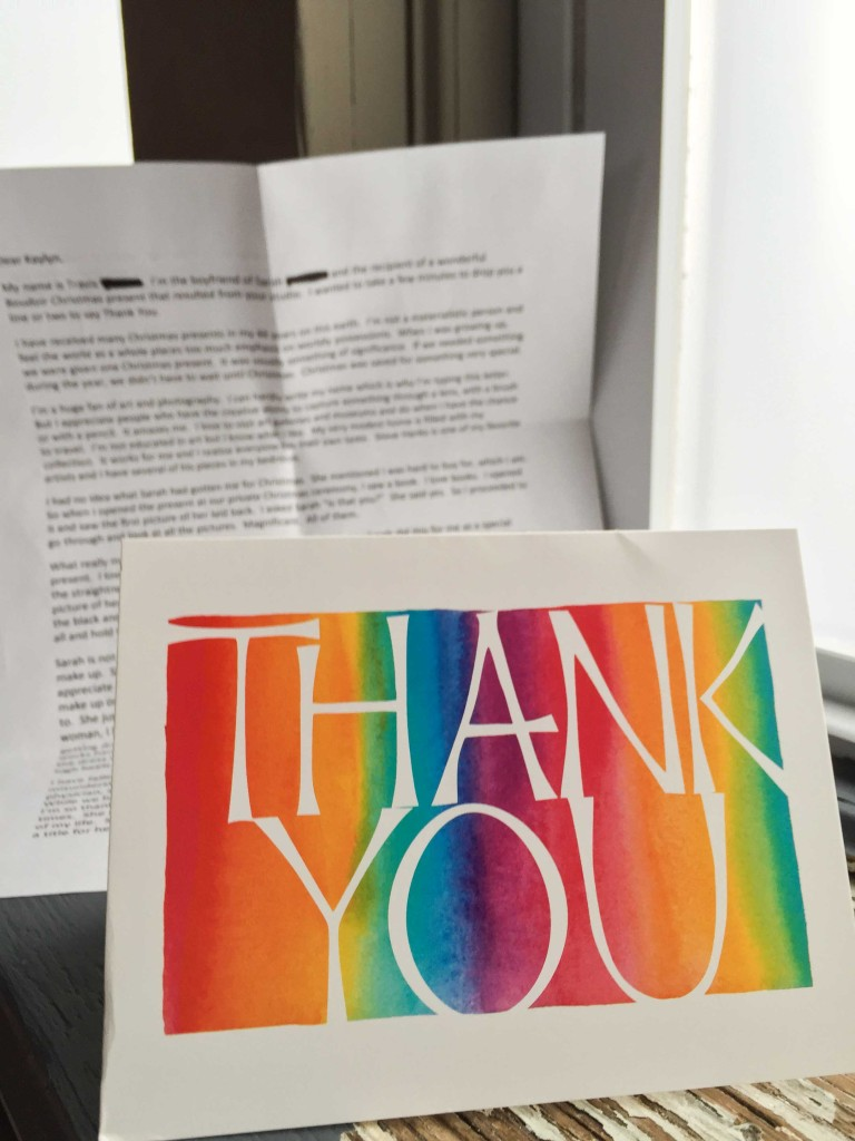 Thank you note from boudoir client's boyfriend at Kaylyn Hoskins Photography Solon, Iowa