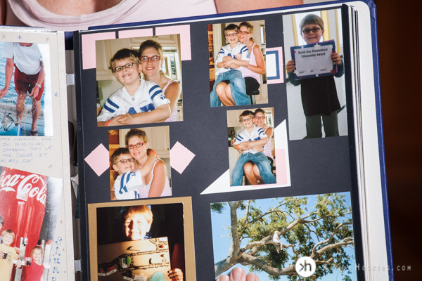 Photo album scrapbook page to recreate old childhood photographs for senior portraits