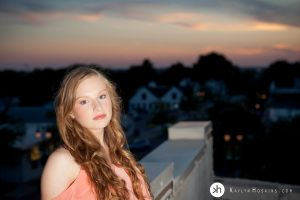 Gorgeous Gracen on rooftop downtown Solon, Iowa at sunset