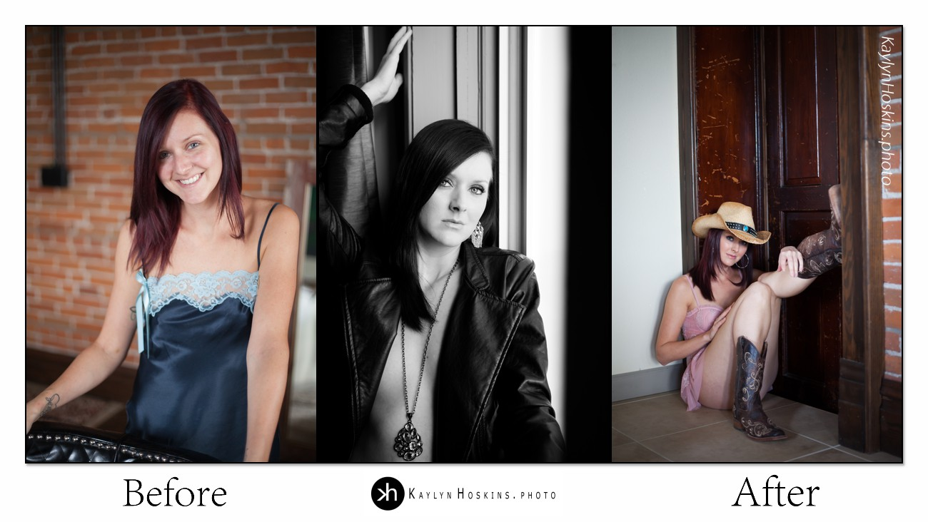 Lacie Joy's before after boudoir collage
