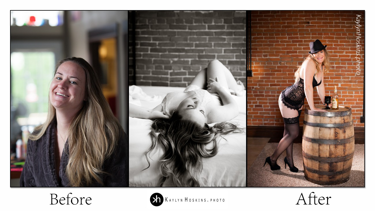 before after collage of boudoir goddess Sarah