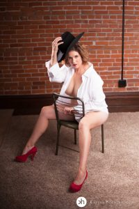 Gorgeous Woman wearing husband's white button down shirt,red stilettos and hubby's Cowboy hat