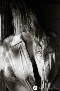 Gorgeous boudoir goddess in shower wearing her man's wet, white dress shirt on
