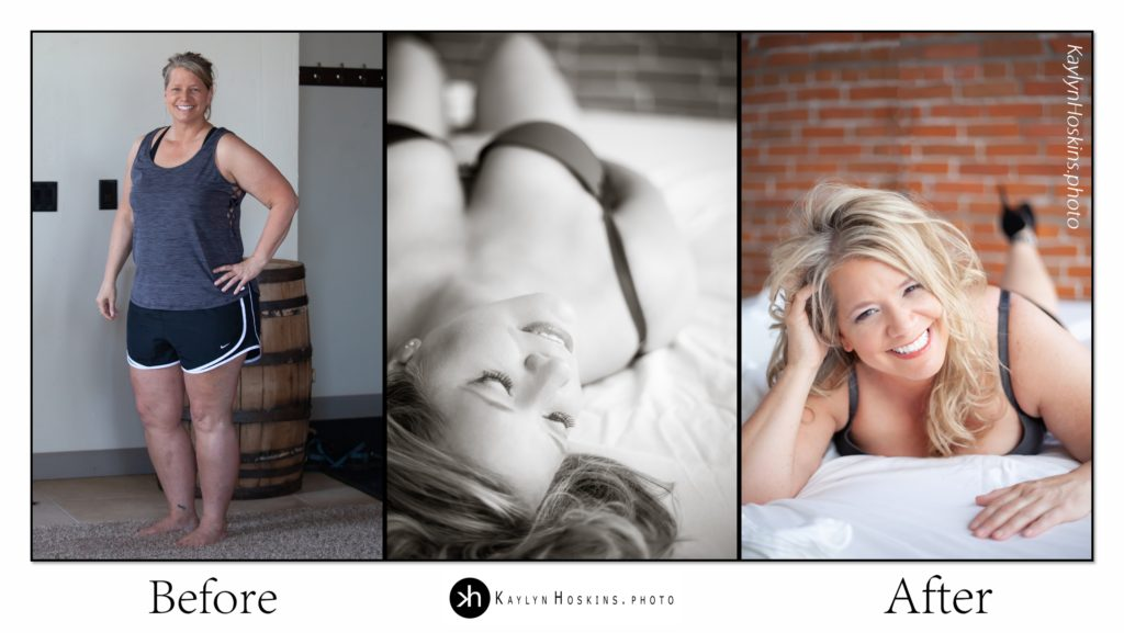 Before After collage of boudoir goddess in solon, iowa