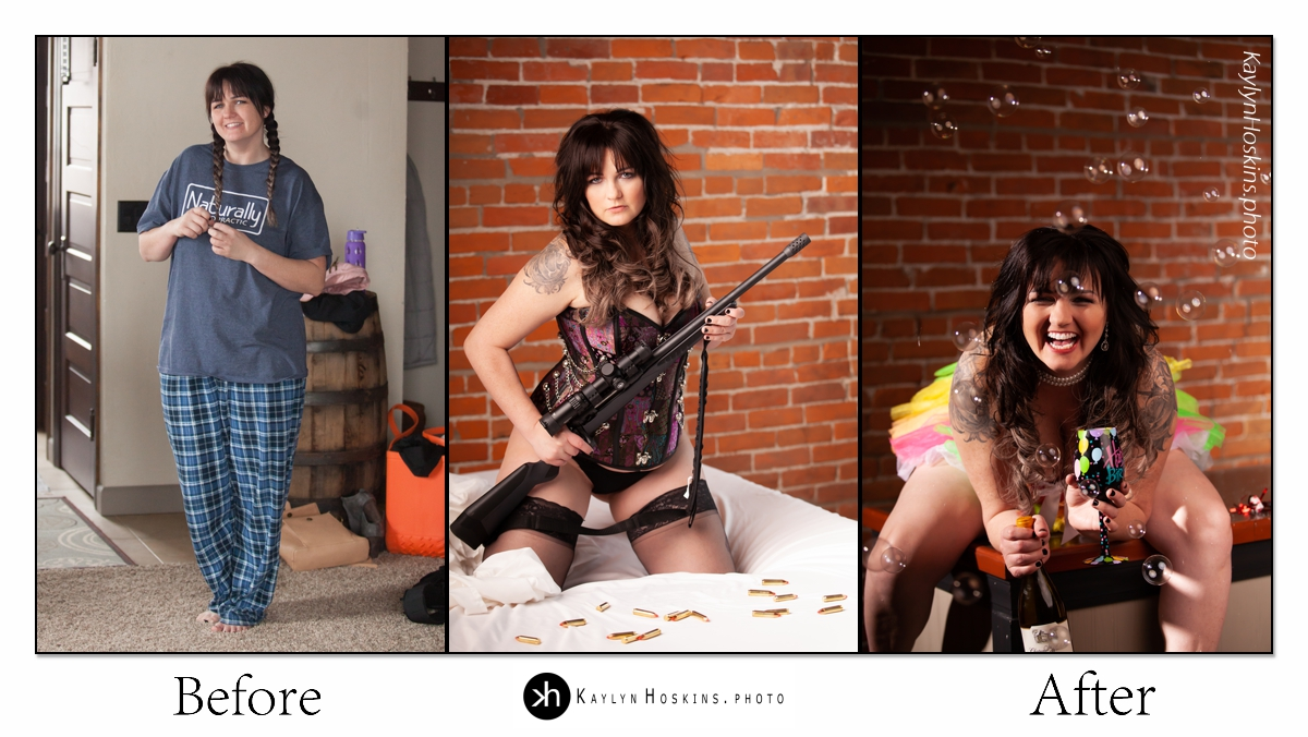 Before After Collage of woman's boudoir shoot