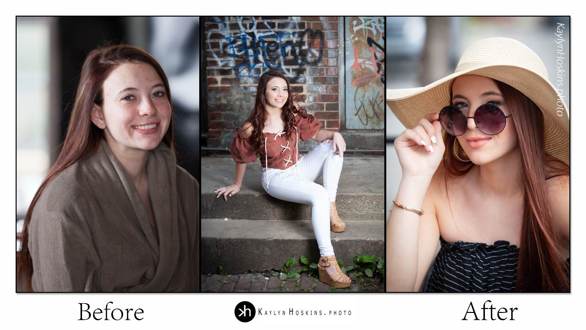 Senior girl Before After Collage by Kaylyn Hoskins