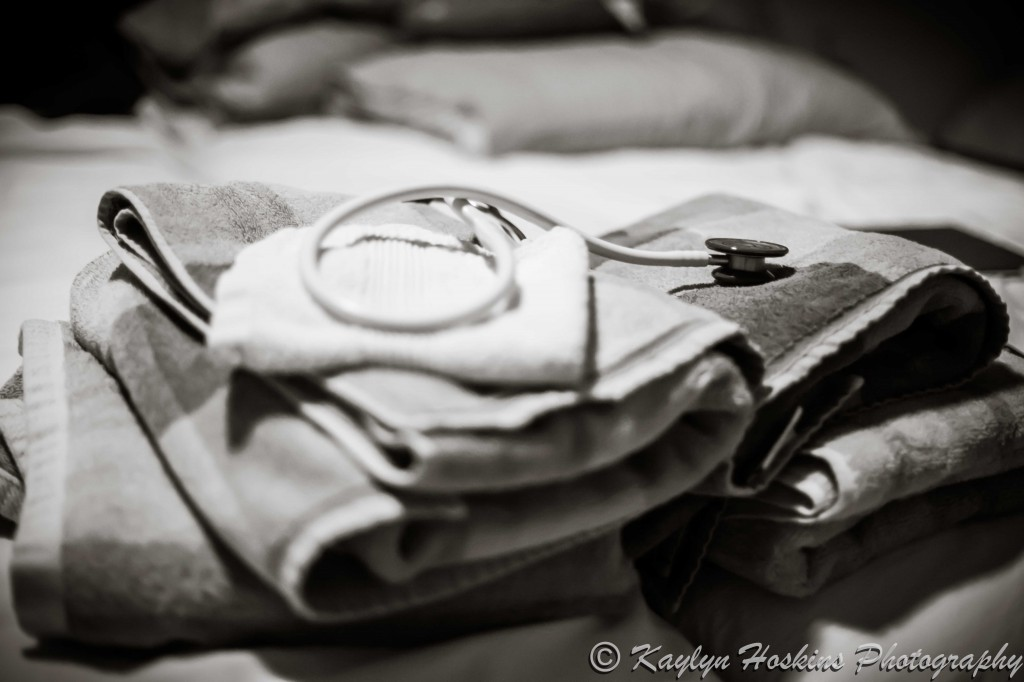 Stethoscope sitting on towels ready for home water birth baby