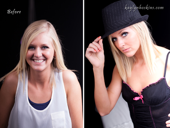 Image on left taken of boudoir client upon her arriving at Kaylyn's Studio Image Image right shows her super duper extra gorgeous of an image from her photography session with Kaylyn Hoskins Photography