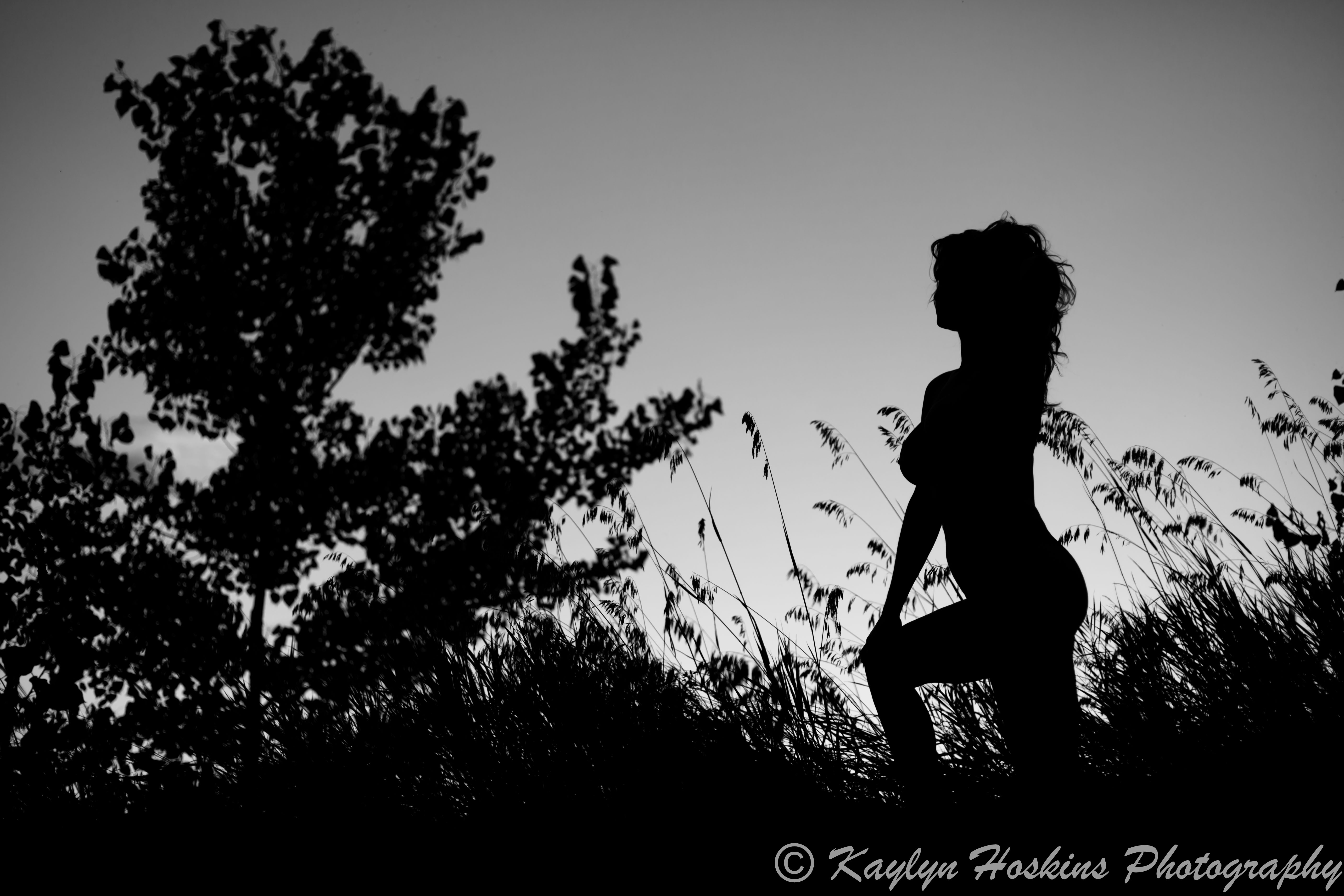 Gorgeous woman naked sunset silhouette